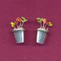 Arracades - Test amb floretes esmaltades de colors